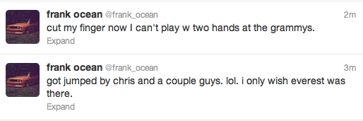 Frank Oceans Tweets After Brawl