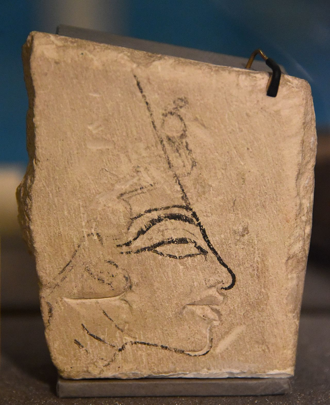 Lips were cut off of this piece which is on display at The Petrie Museum of Egyptian Archaeology London.
