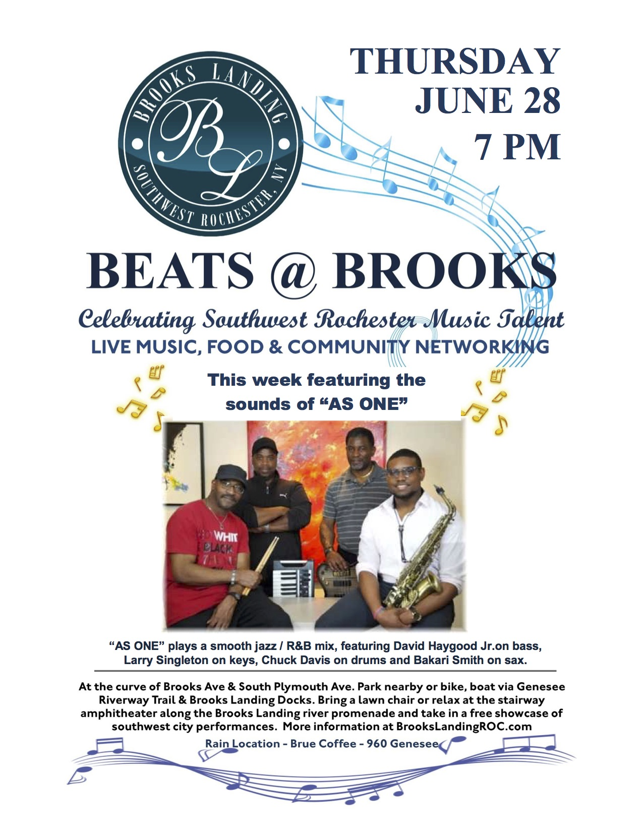 Beats at Brooks June 28 7pm As One