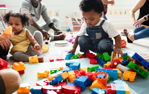 Children playing with blocks at daycare