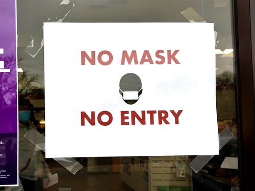 No Mask, No Entry sign on glass