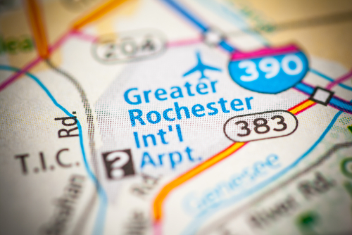 Map showing the rochester greater international airport